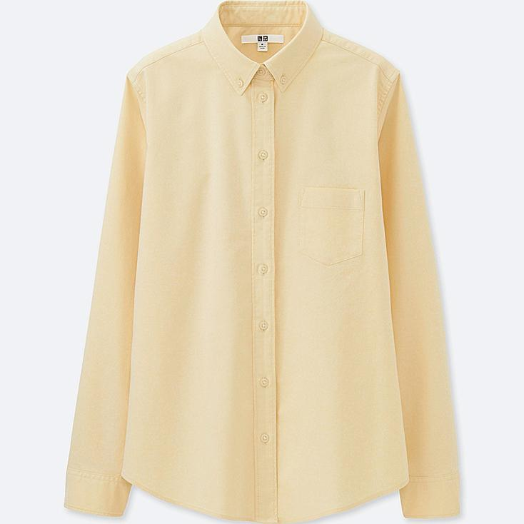 WOMEN OXFORD LONG-SLEEVE SHIRT (ONLINE EXCLUSIVE), YELLOW, large