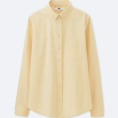 WOMEN OXFORD LONG-SLEEVE SHIRT, YELLOW, medium