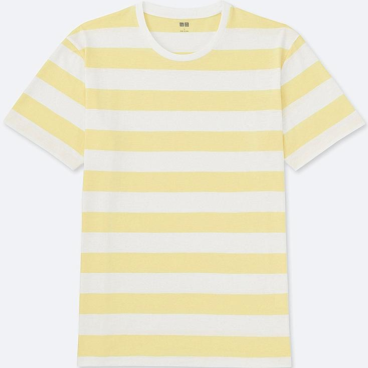 MEN WASHED STRIPED CREWNECK SHORT SLEEVE T-Shirt, YELLOW, large