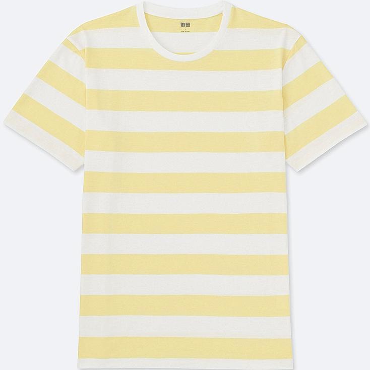 MEN WASHED STRIPED CREWNECK SHORT SLEEVE T-Shirt, YELLOW, large
