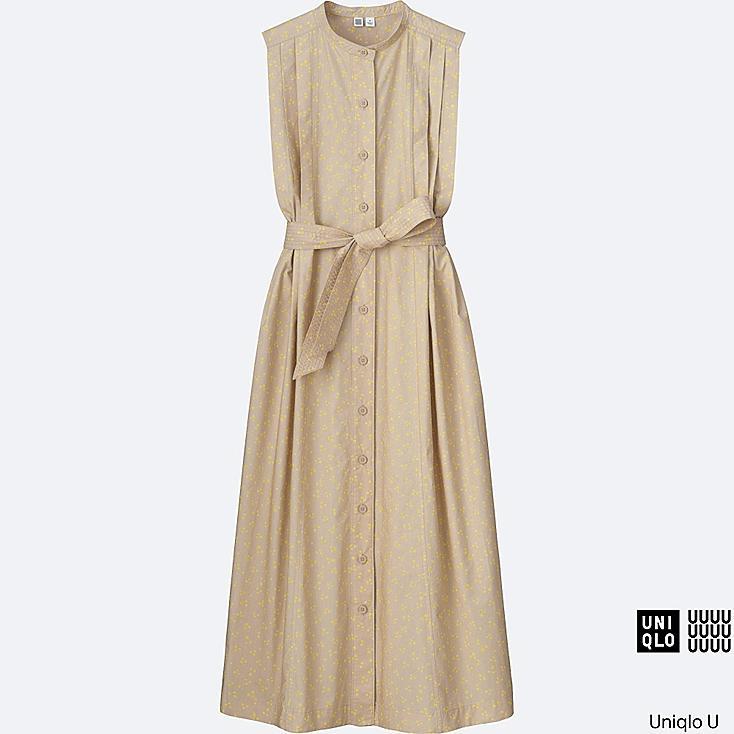 WOMEN U COTTON PRINTED SLEEVELESS LONG DRESS, YELLOW, large