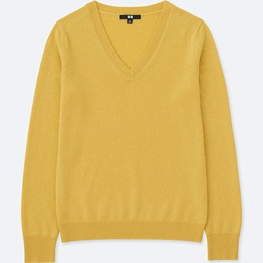 WOMEN CASHMERE V-NECK SWEATER, YELLOW, medium