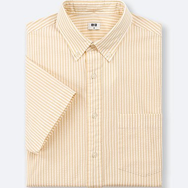MEN DRY SEERSUCKER STRIPED SHORT-SLEEVE SHIRT, YELLOW, medium