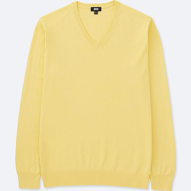MEN WASHABLE V-NECK LONG-SLEEVE SWEATER, YELLOW, large