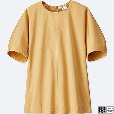 Damen U Baumwollsatin Bluse (Kurzarm)