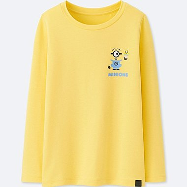 KIDS MINIONS HEATTECH EXTRA WARM CREWNECK T-SHIRT, YELLOW, medium