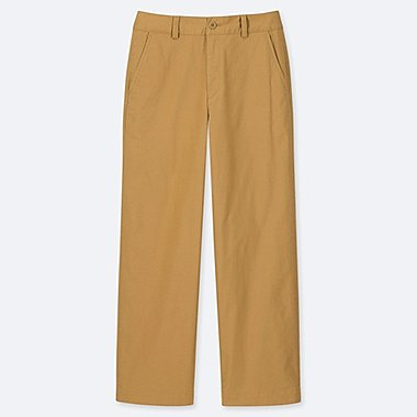 WOMEN HIGH RISE WIDE LEG STRAIGHT CHINO TROUSERS
