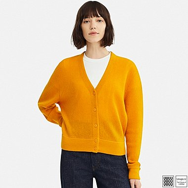 WOMEN U WOOL V-NECK CARDIGAN, YELLOW, medium