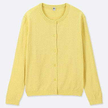 GIRLS UV CUT CREW NECK LONG-SLEEVE CARDIGAN, YELLOW, medium