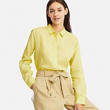 WOMEN PREMIUM LINEN LONG-SLEEVE SHIRT 3b3e671eee