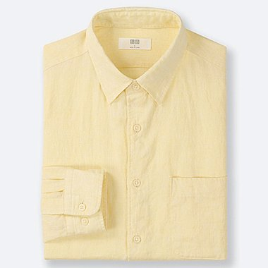 MEN PREMIUM LINEN LONG-SLEEVE SHIRT, YELLOW, medium