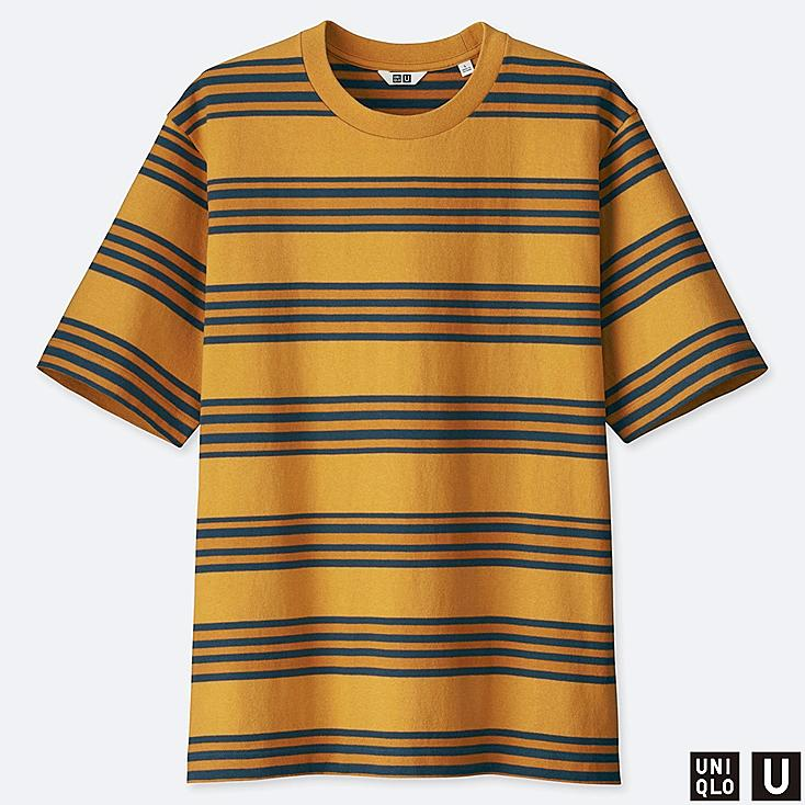 MEN U STRIPED SHORT-SLEEVE T-SHIRT, YELLOW, large