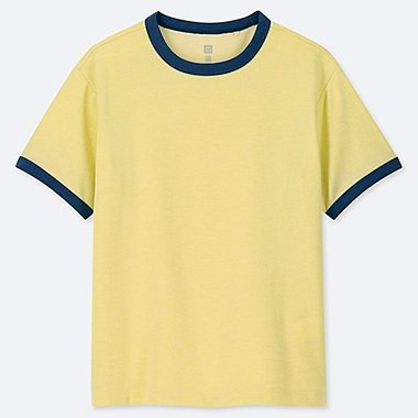KIDS DRY-EX CREW NECK SHORT-SLEEVE T-SHIRT, YELLOW, medium