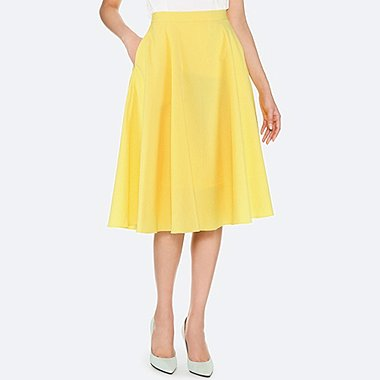 WOMEN SEERSUCKER CIRCULAR SKIRT, YELLOW, medium