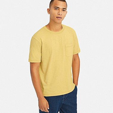MEN SLUB CREW NECK POCKET T-SHIRT, YELLOW, medium