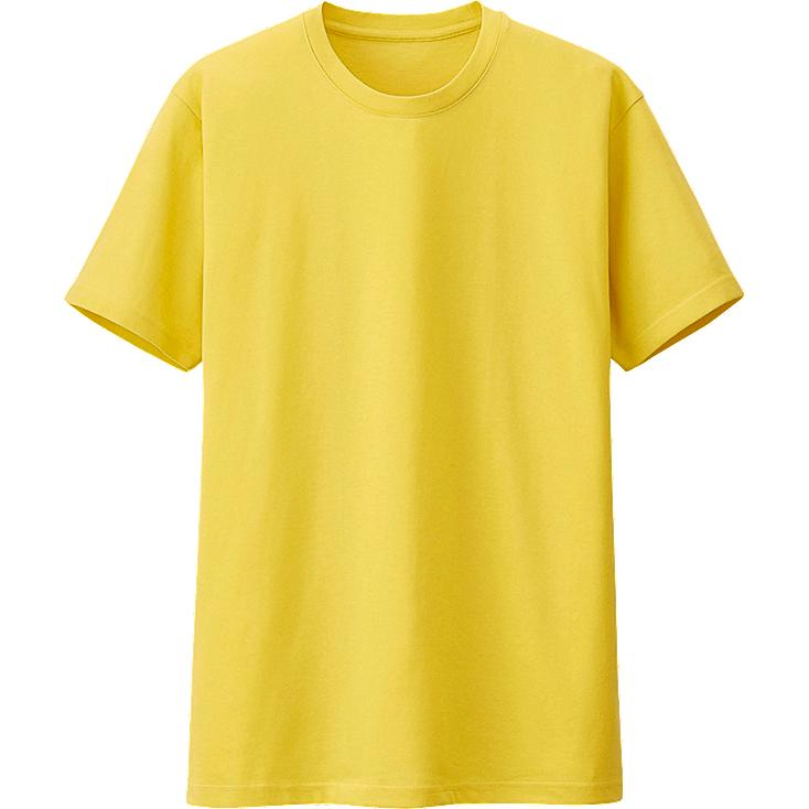 MEN PACKAGED DRY CREW NECK SHORT SLEEVE T-SHIRT, YELLOW, large