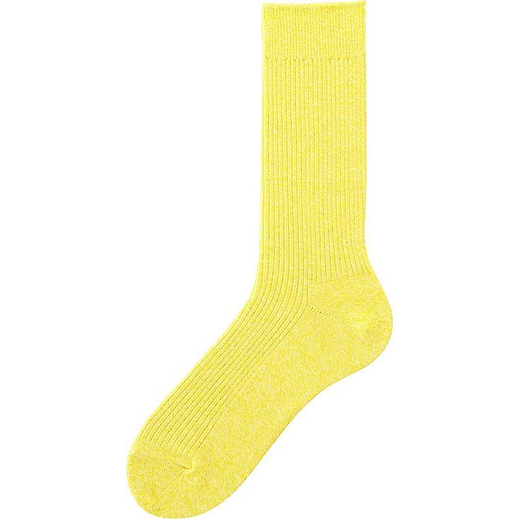 Men's Colored Calf Length Socks, YELLOW, large