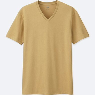 MEN Supima® COTTON V-NECK SHORT SLEEVE T-Shirt, YELLOW, medium
