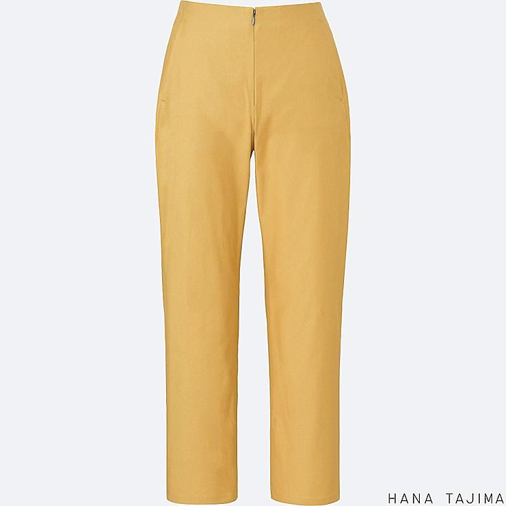 WOMEN TENCEL ANKLE LENGTH PANTS, YELLOW, large