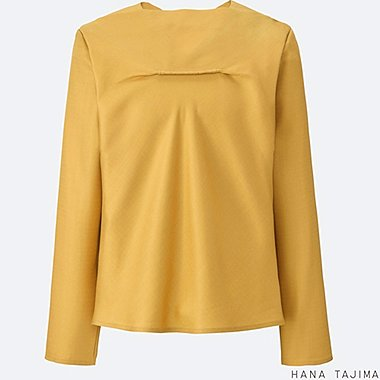 WOMEN Tencel Drape Neck Long Sleeve Blouse