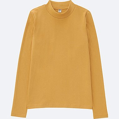 WOMEN Ribbed High Neck Long Sleeve T-Shirt