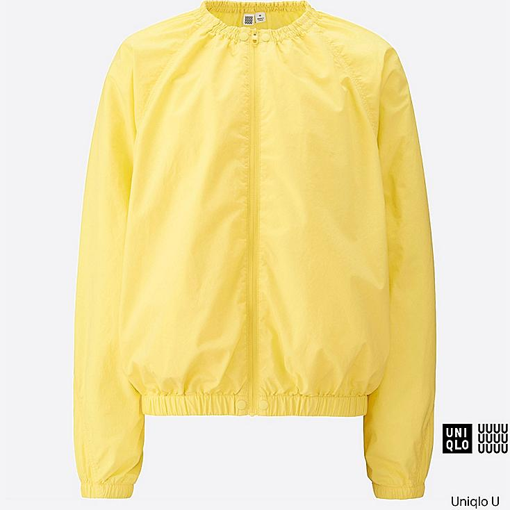 WOMEN U COLLARLESS BLOUSON, YELLOW, large