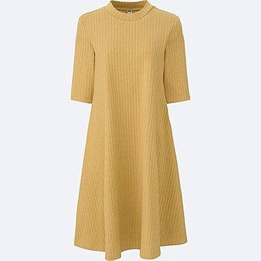 WOMEN RIBBED COTTON FLARE DRESS, YELLOW, medium