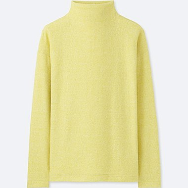 WOMEN SOFT KNITTED FLEECE MOCK NECK LONG SLEEVE T-Shirt