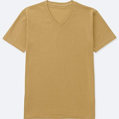MEN PACKAGED DRY V-NECK SHORT-SLEEVE T-SHIRT, YELLOW, medium