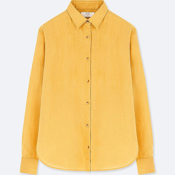 WOMEN PREMIUM LINEN LONG-SLEEVE SHIRT, YELLOW, large