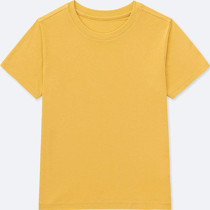 KIDS PACKAGED COLOR CREW NECK SHORT-SLEEVE T-SHIRT, YELLOW, large