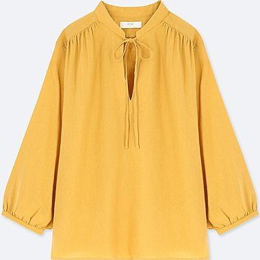 WOMEN LINEN BLENDED GATHERED 3/4 SLEEVE BLOUSE, YELLOW, medium