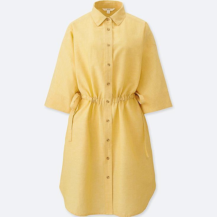 WOMEN LINEN BLEND 3/4 SLEEVE SHIRT DRESS, YELLOW, large
