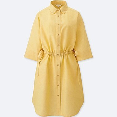 WOMEN LINEN BLEND 3/4 SLEEVE SHIRT DRESS, YELLOW, medium