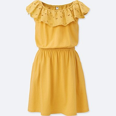 GIRLS FRILL DRESS, YELLOW, medium