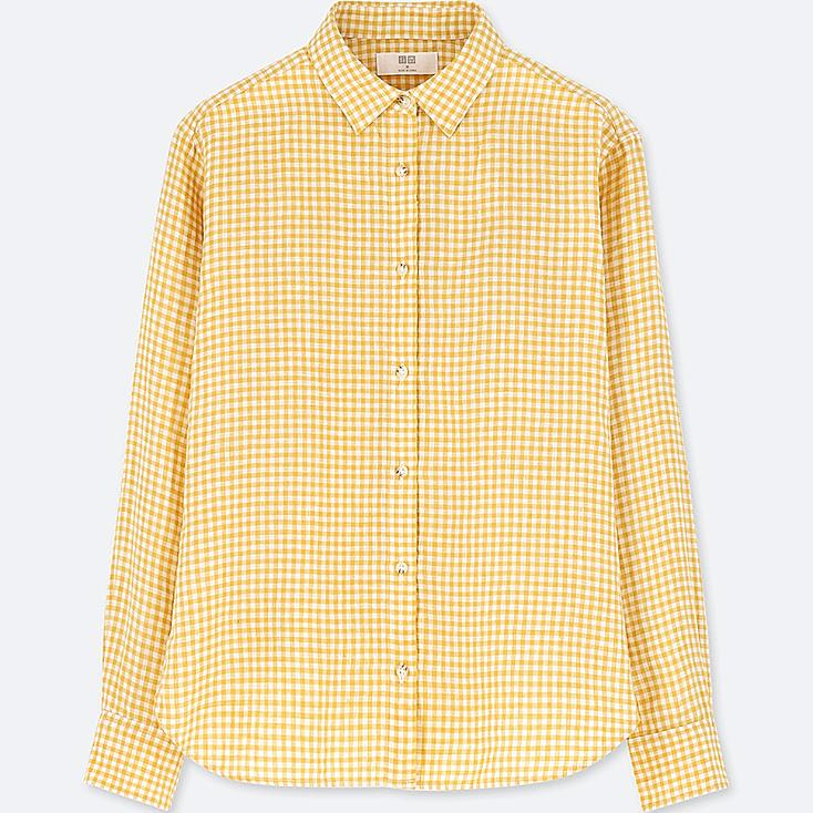 WOMEN PREMIUM LINEN CHECKED LONG-SLEEVE SHIRT, YELLOW, large
