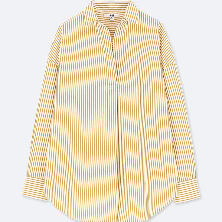 WOMEN EXTRA FINE COTTON STRIPED LONG-SLEEVE SHIRT, YELLOW, large