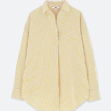WOMEN EXTRA FINE COTTON STRIPED LONG SLEEVE SHIRT, YELLOW, medium