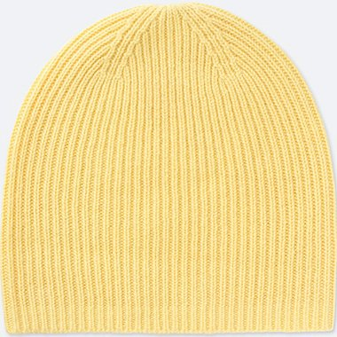 CASHMERE KNITTED BEANIE, YELLOW, medium
