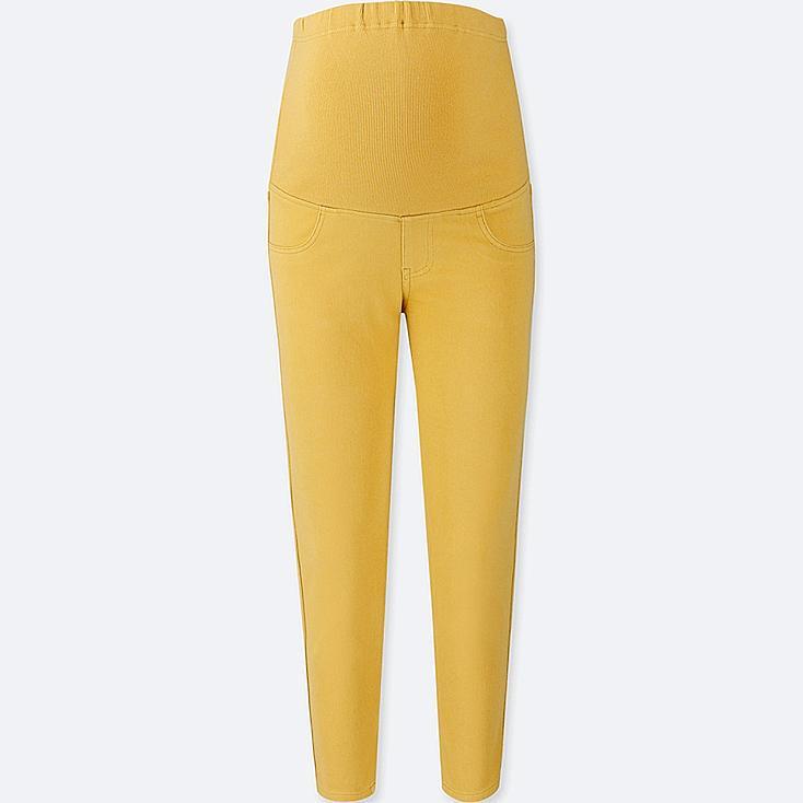 WOMEN MATERNITY CROPPED LEGGINGS PANTS, YELLOW, large