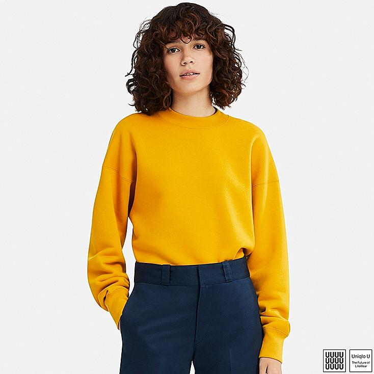 WOMEN U CREW NECK LONG-SLEEVE SWEATSHIRT, YELLOW, large