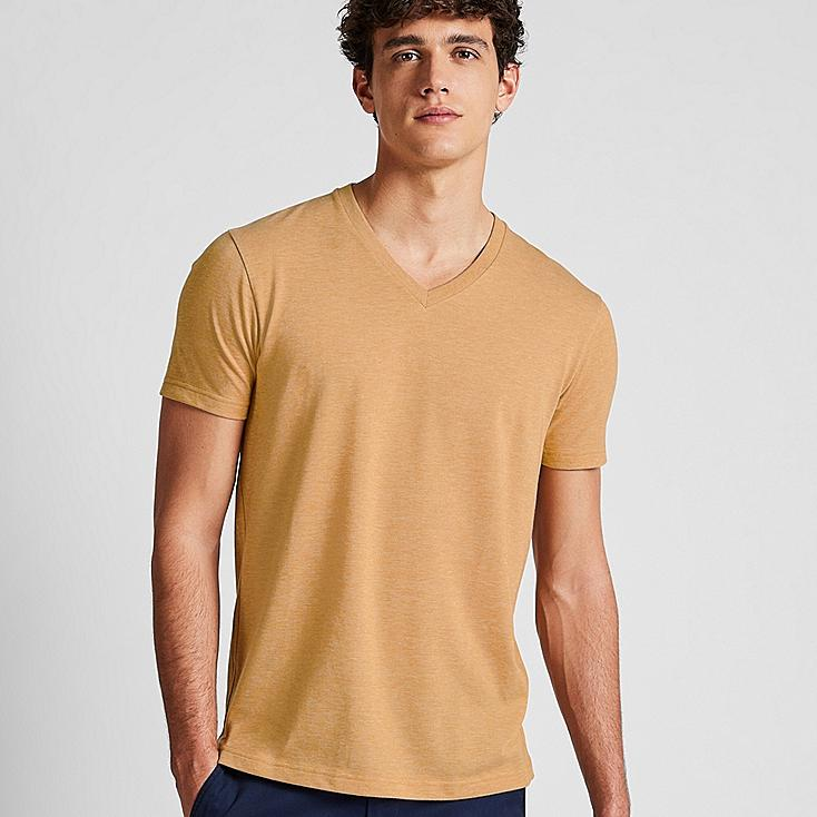 MEN PACKAGED DRY V-NECK SHORT-SLEEVE T-SHIRT, YELLOW, large