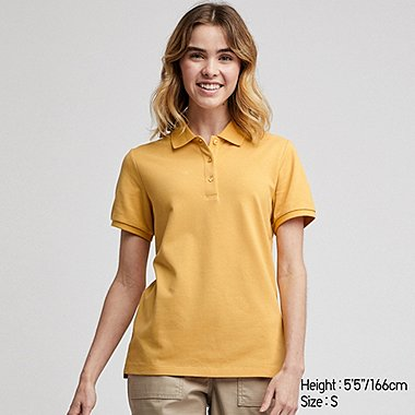 WOMEN STRETCH PIQUE SHORT-SLEEVE POLO SHIRT, YELLOW, medium