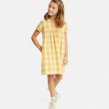 GIRLS CHECKED SHORT-SLEEVE DRESS, YELLOW, medium