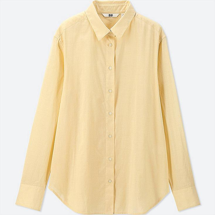 WOMEN SOFT COTTON LONG-SLEEVE SHIRT, YELLOW, large