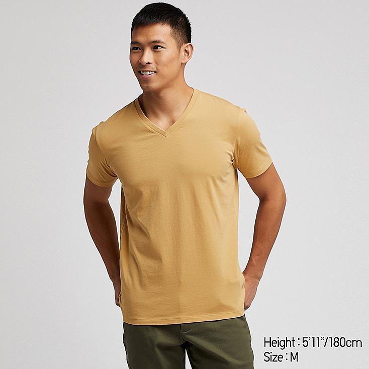 MEN SUPIMA® COTTON V-NECK SHORT-SLEEVE T-SHIRT, YELLOW, large