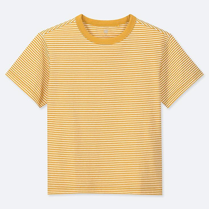 KIDS STRIPED CREW NECK SHORT-SLEEVE T-SHIRT, YELLOW, large