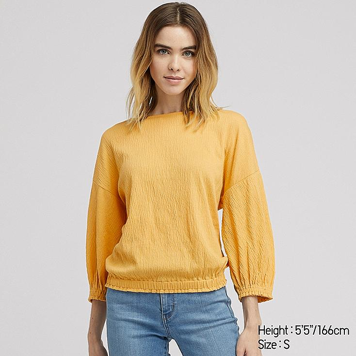 Women Crepe Gathered Half Sleeve T Shirt by Uniqlo