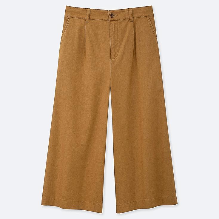 WOMEN LINEN COTTON WIDE CROPPED PANTS, YELLOW, large