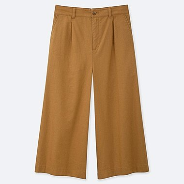 WOMEN LINEN COTTON BLEND WIDE LEG CROPPED TROUSERS